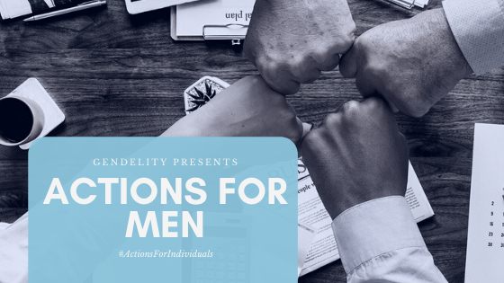 Photography of shirt-sleeved arms fist bumping with text overlay: Actions for Men