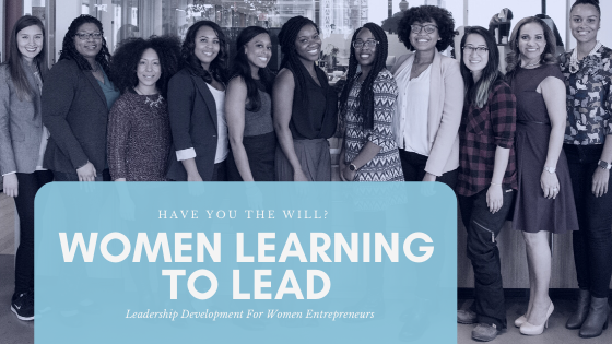 Photo of group of diverse women smiling with overlay 'women learning to lead'