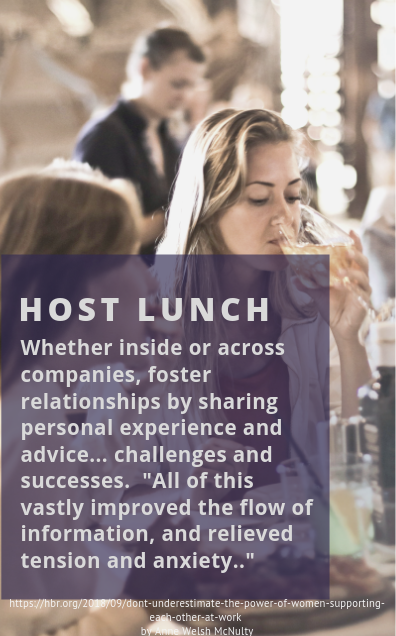 Photography of People sitting eating at a table with text overlay: Host Lunch - whether inside or across companies, foster relationship by sharing personal experience and advice... challenges, and success. All of this vastly improved the flow of information and relieved tension and anxiety2.