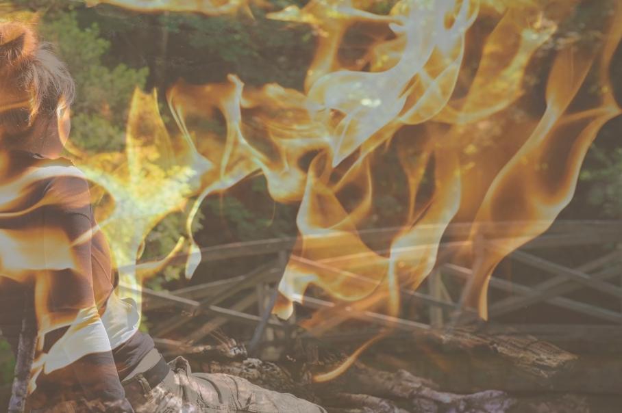Image of woman looking at bridge with flames - Salary Negotiations can burn bridges